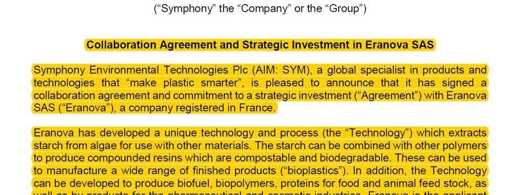 Almidón de algas para producir resinas compostables y biodegradables – Anuncio de Symphony