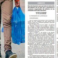 DECRETO SUPREMO APRUEBA LA REDUCCION DEL PLASTICO